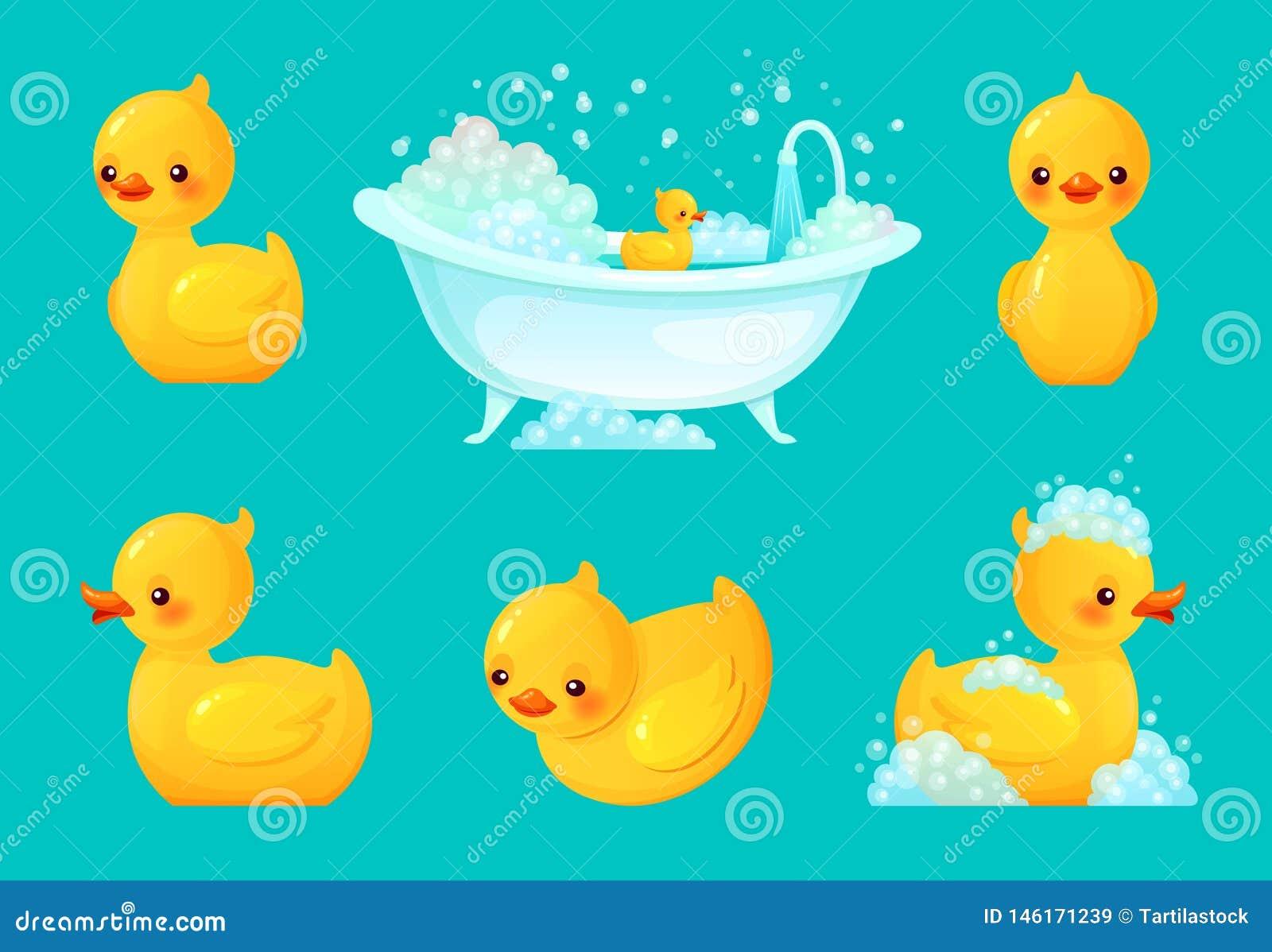 Pato amarelo do banho Cuba do banheiro com espuma, banho de relaxamento e ilustração de borracha do vetor dos desenhos animados d