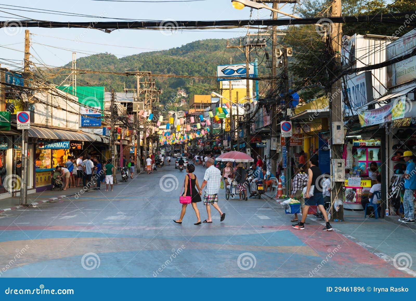 patong bangla road at day phuket thailand editorial. Black Bedroom Furniture Sets. Home Design Ideas