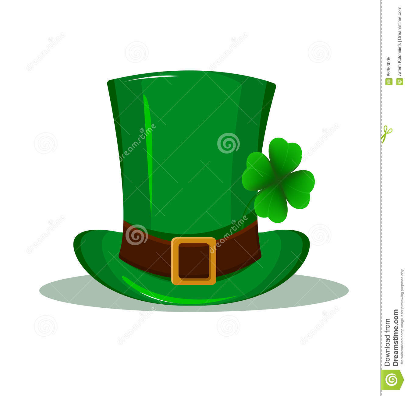 patrick hat green hat with four leaf clover isolated on white