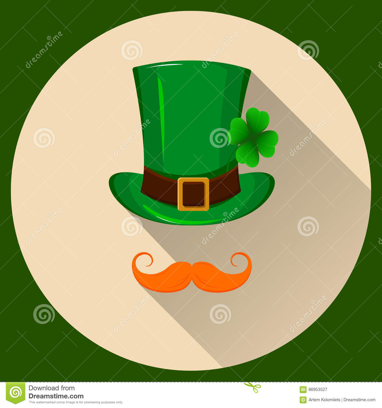 patrick hat green hat with four leaf clover and red mustache