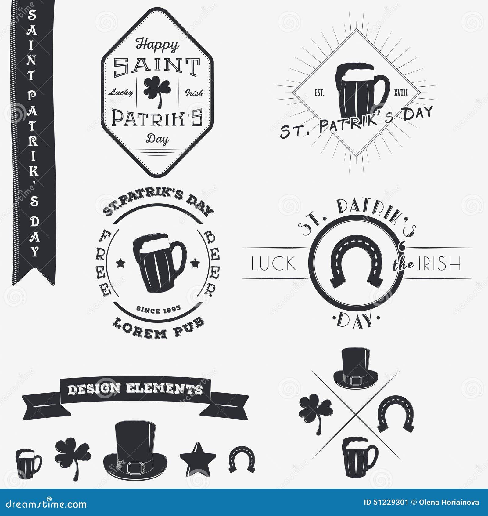 Patrick jest święty dzień Set Typograficzni odznaka projekta elementy, projektanta Toolkit