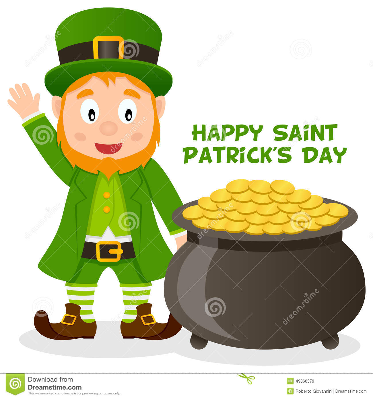 Patrick S Day Pot Of Gold And Leprechaun Stock Vector Image 49060579