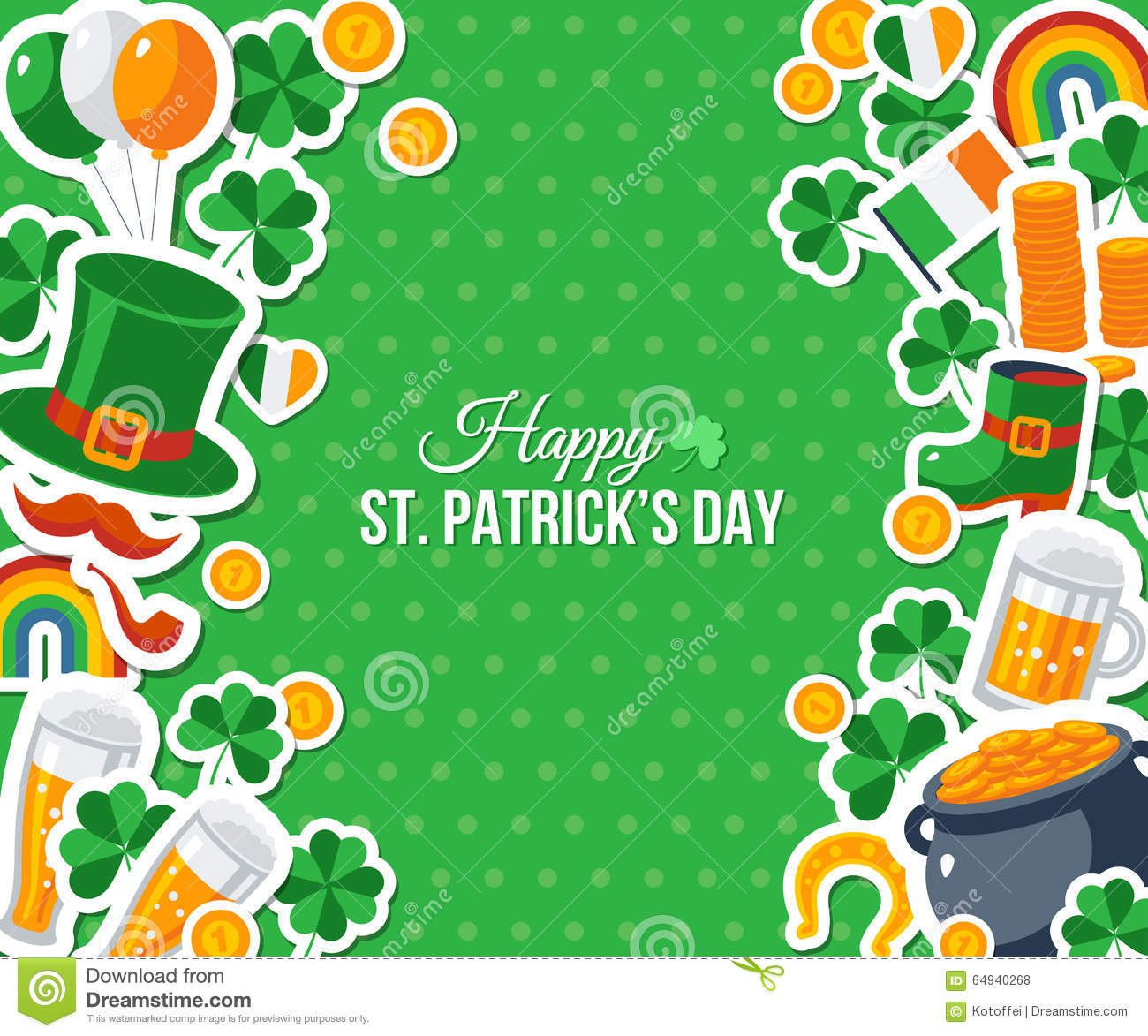 Patricks Day Greeting Card stock vector. Image of icon - 64940268