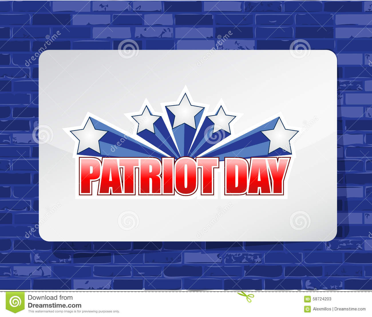 Patriot Day Brick Wall Background Sign Stock Illustration
