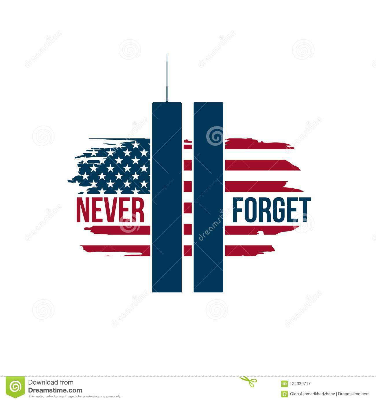 9 11 patriot day card with twin towers on american flag stock
