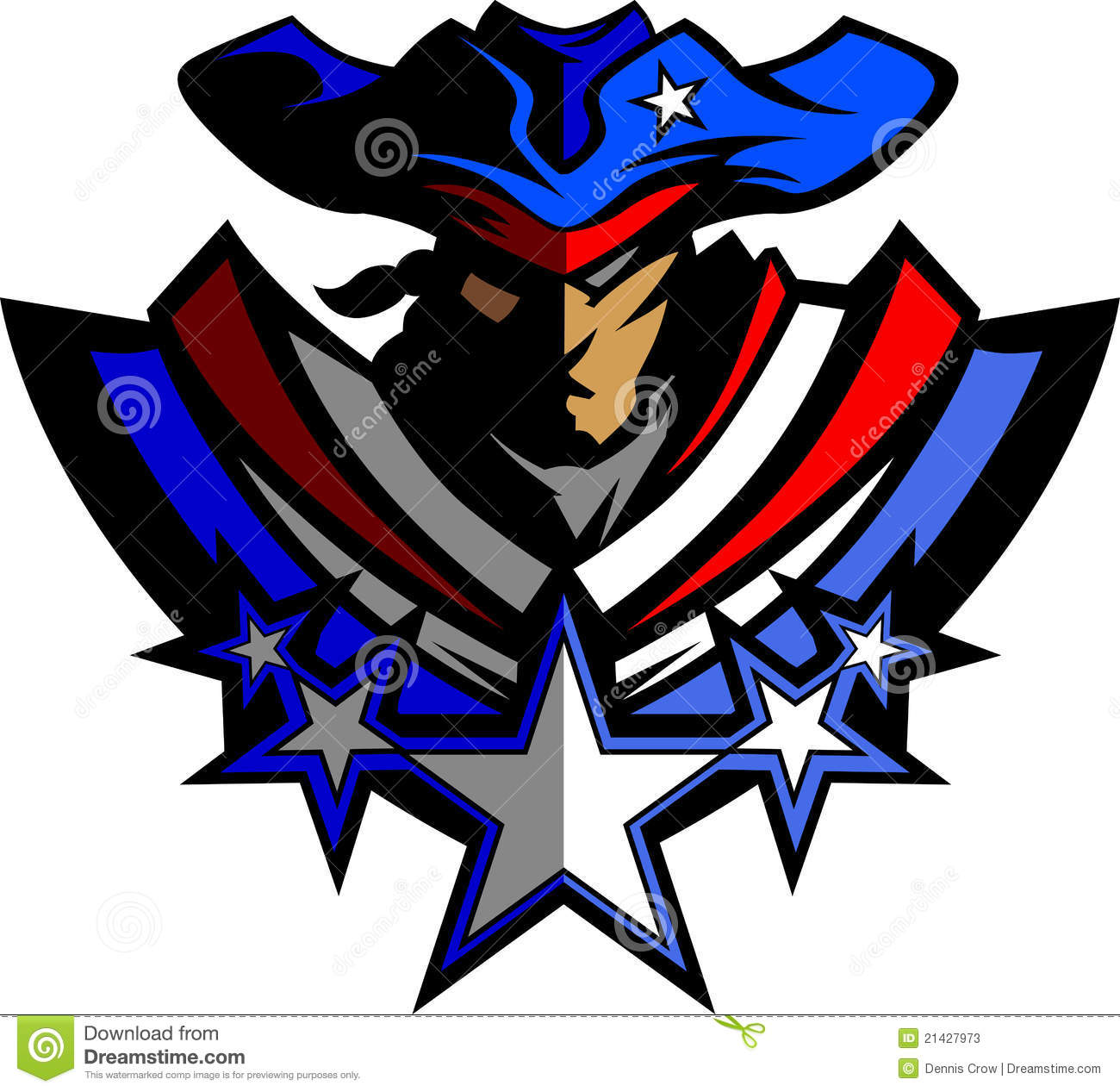 Patriot Mascot With Stars And Hat Vector Graphic Stock Vector