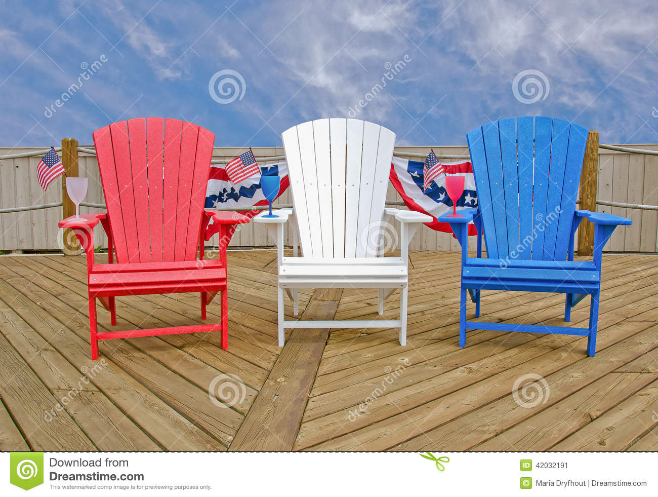 Amazing Patriotic Adirondack Chairs Stock Image Image Of Bright Short Links Chair Design For Home Short Linksinfo