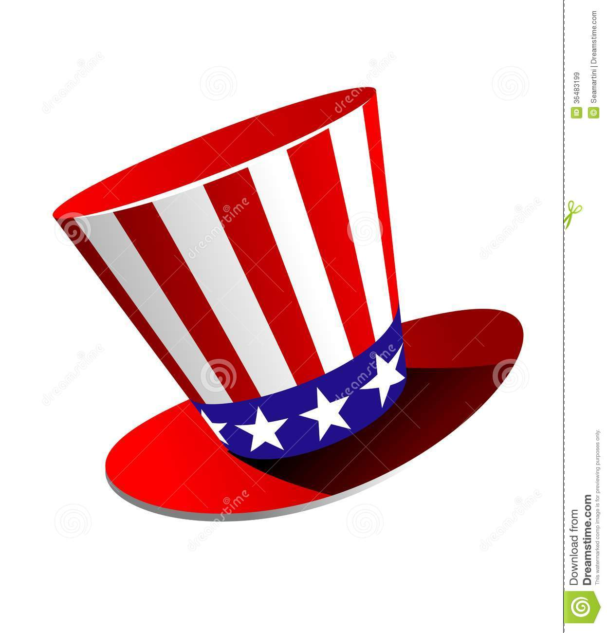 Patriotic American top hat in the red, white and blue colours of the ...