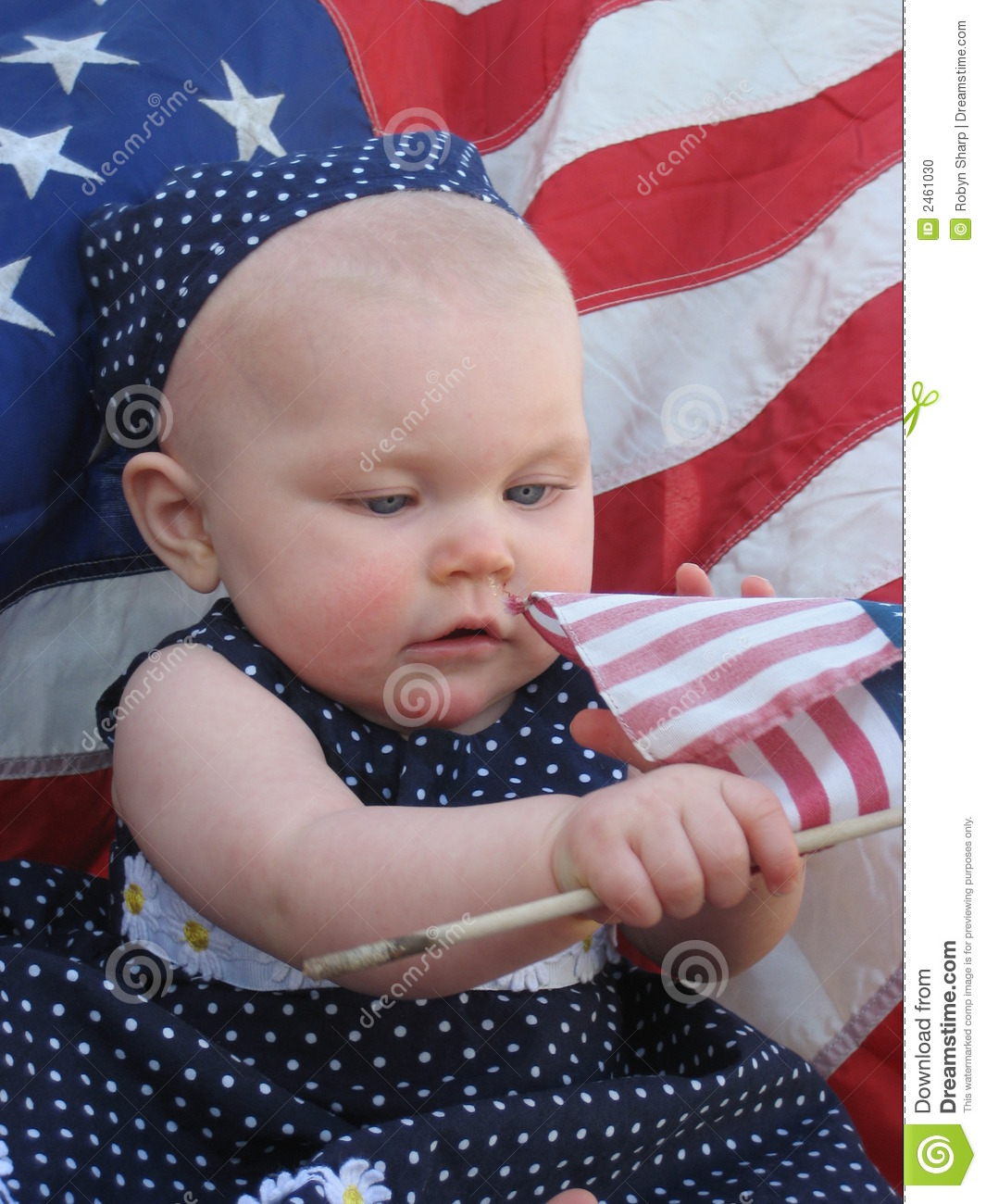Patriotic Baby With Flag Stock Photo Image Of Newborn