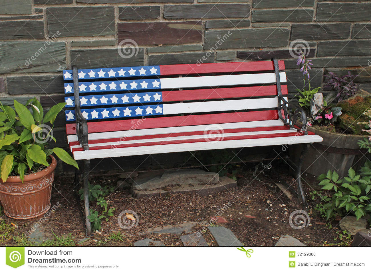 Patriotic Bench Royalty Free Stock Image Image 32129006