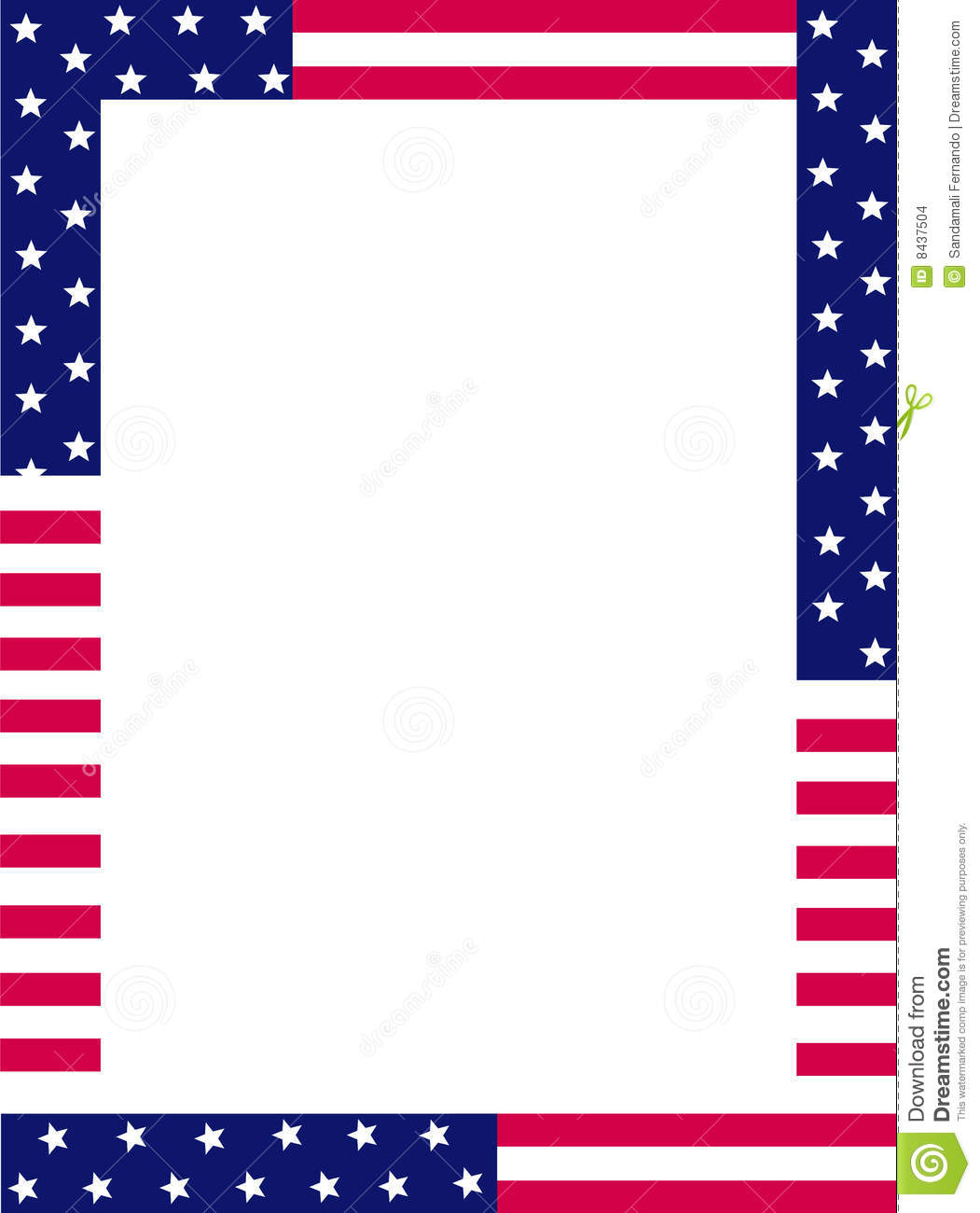 Blue and red patriotic stars and stripes page border / frame design.