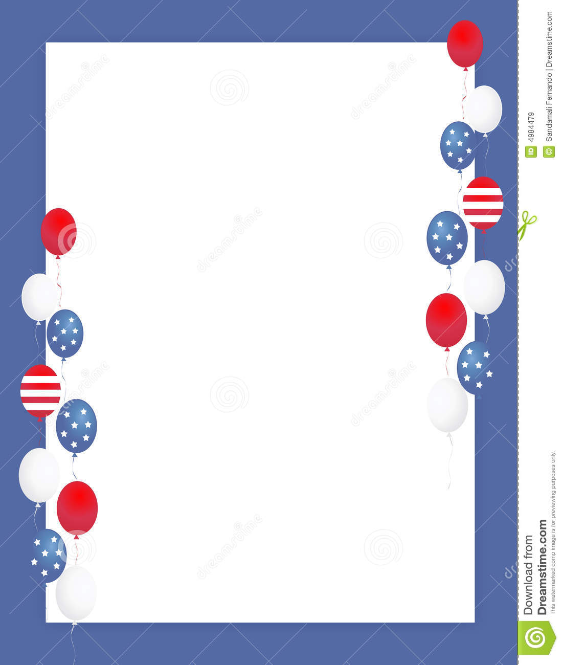Blue and red patriotic stars and stripes page border frame design - Patriotic Border Balloons Royalty Free Stock Images