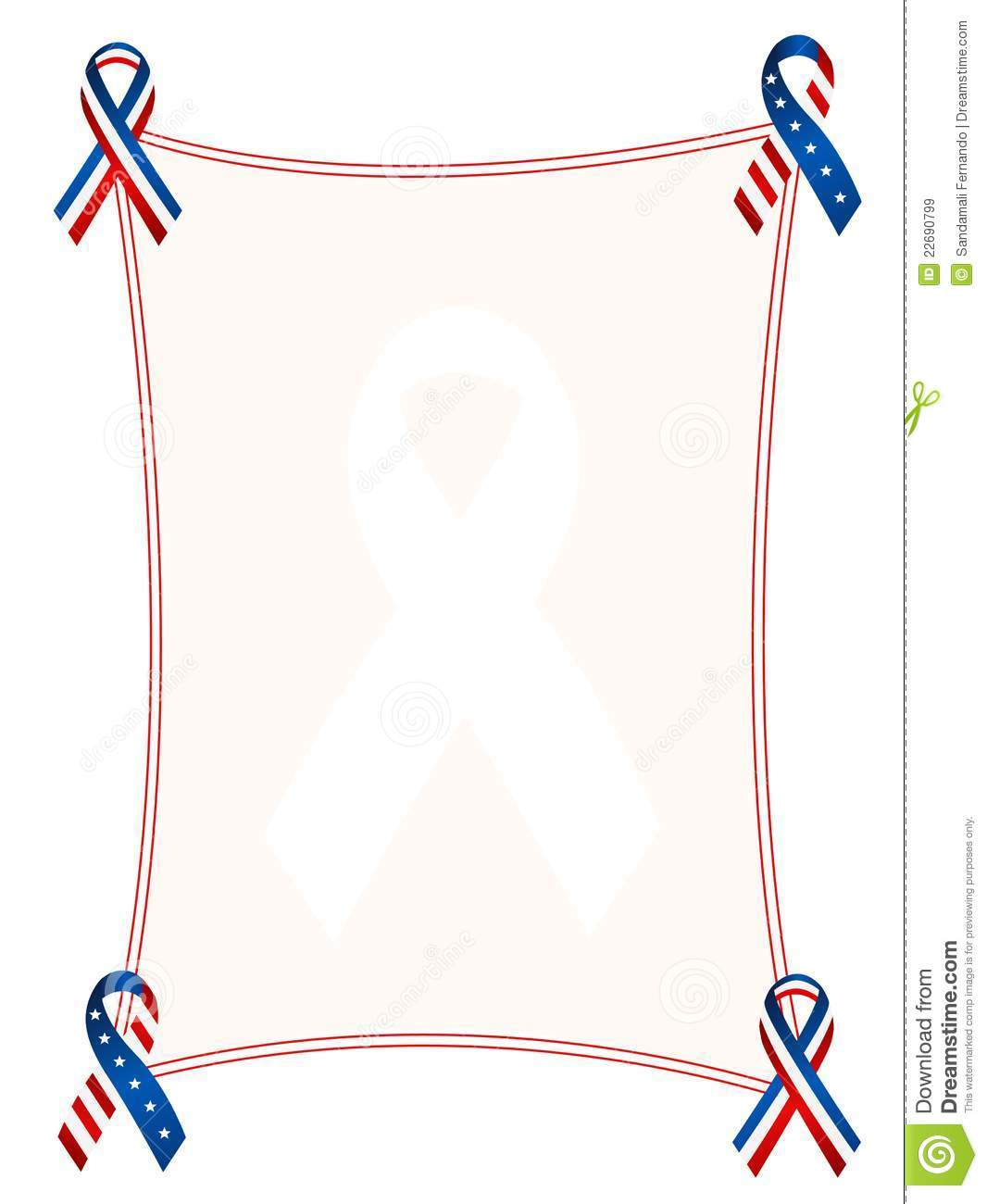 Blue and red patriotic stars and stripes border with ribbons.