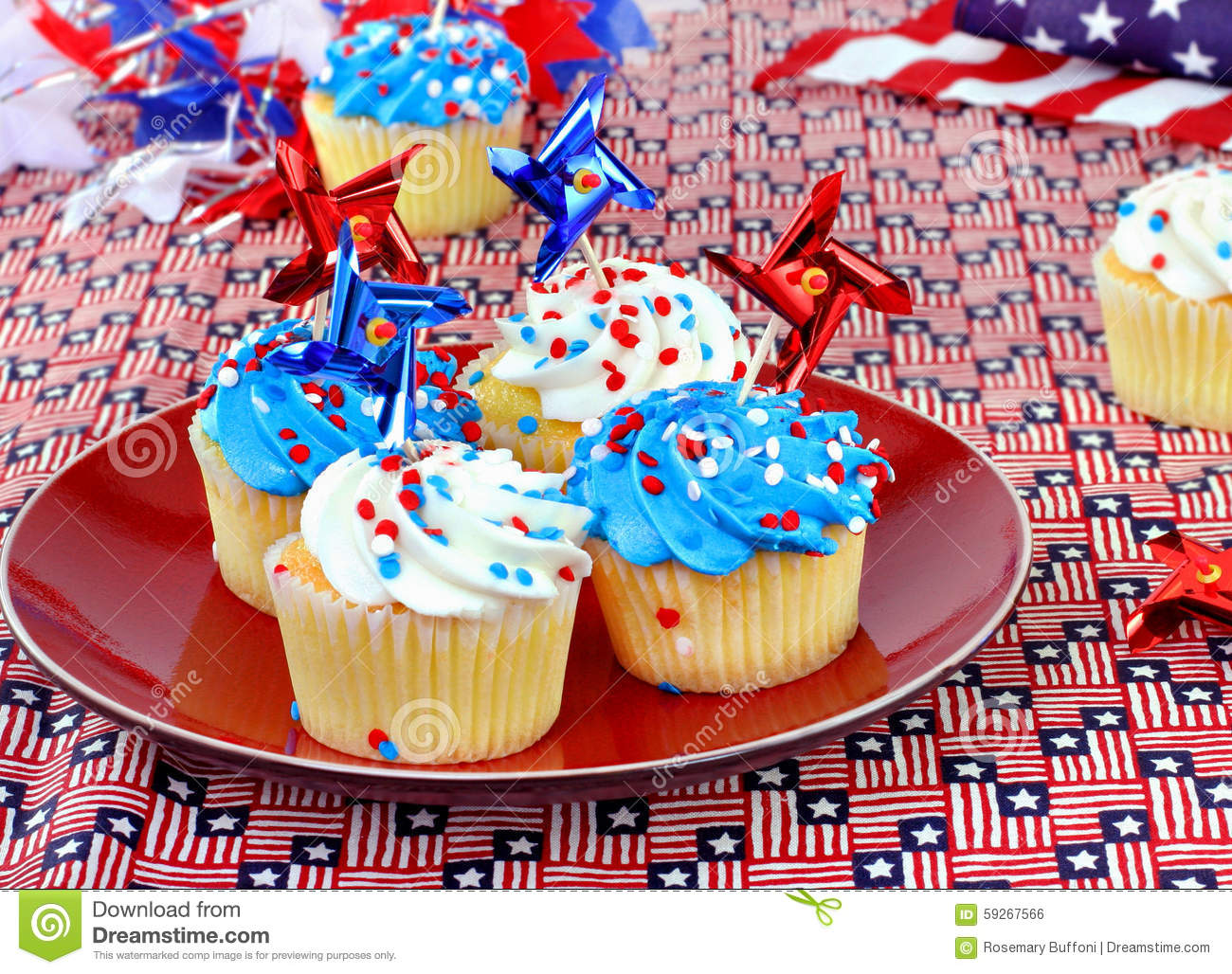 4th Blue Cupcakes Decorations Festive July Memorial Red Veterans White ...