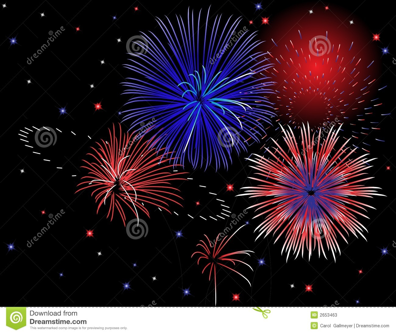 Red White And Blue Firework Clipart In red, white, and blue.