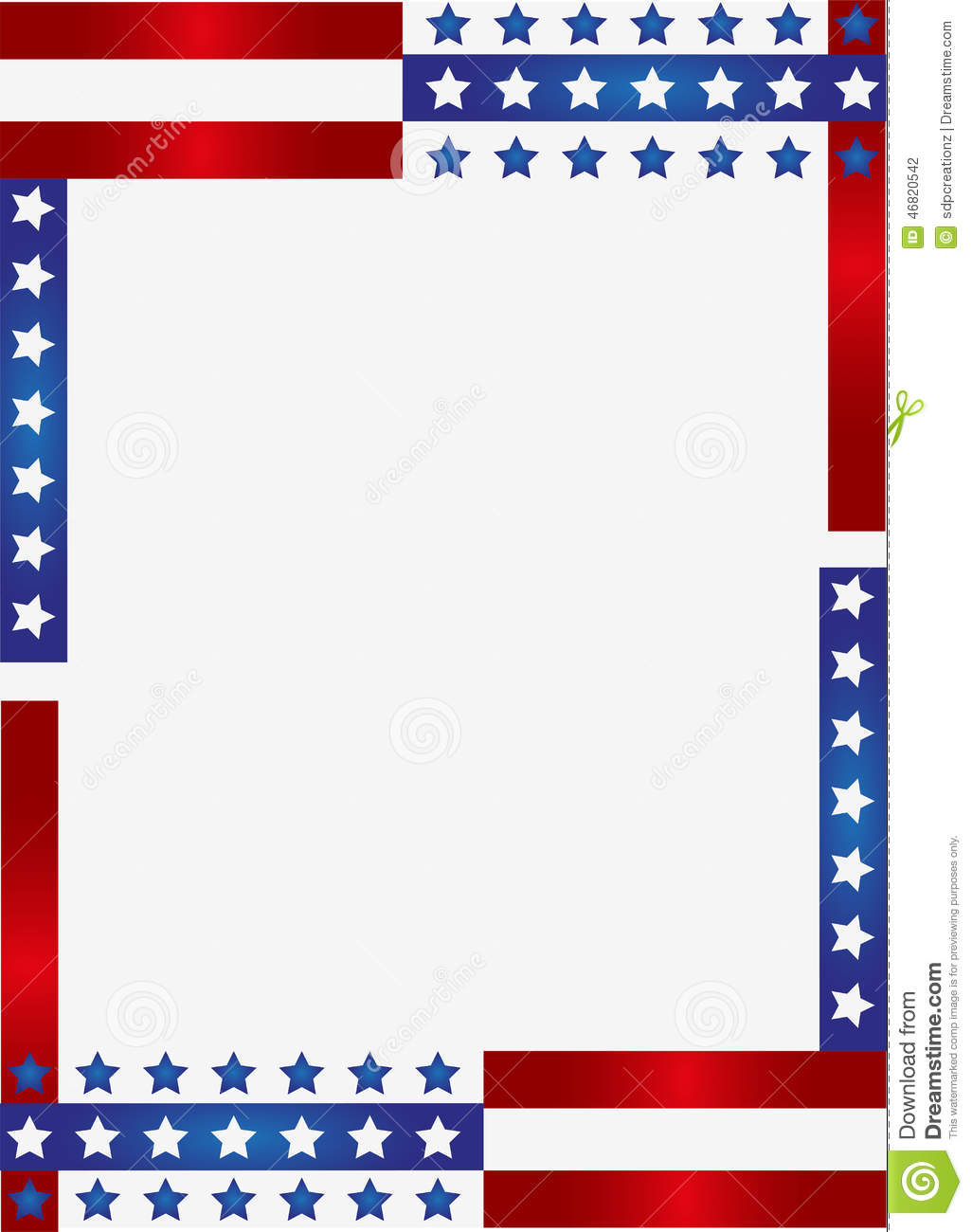 ... red stripes and the stars on blue stripes page border / frame design