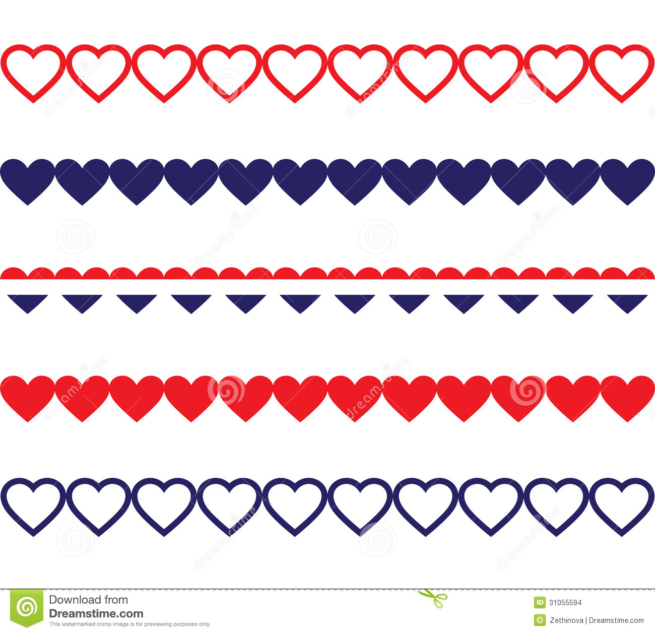 Clip Art Line Of Hearts : Patriotic heart borders stock images image