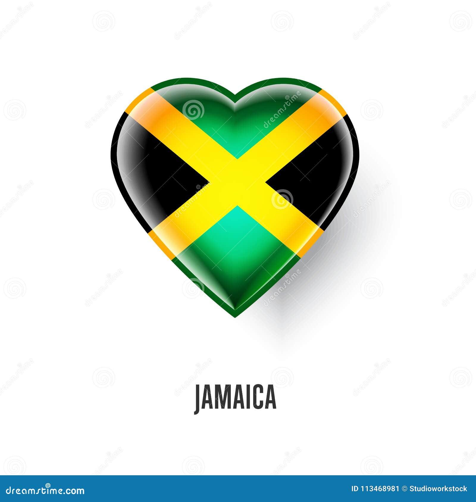 Patriotic heart symbol with jamaica flag
