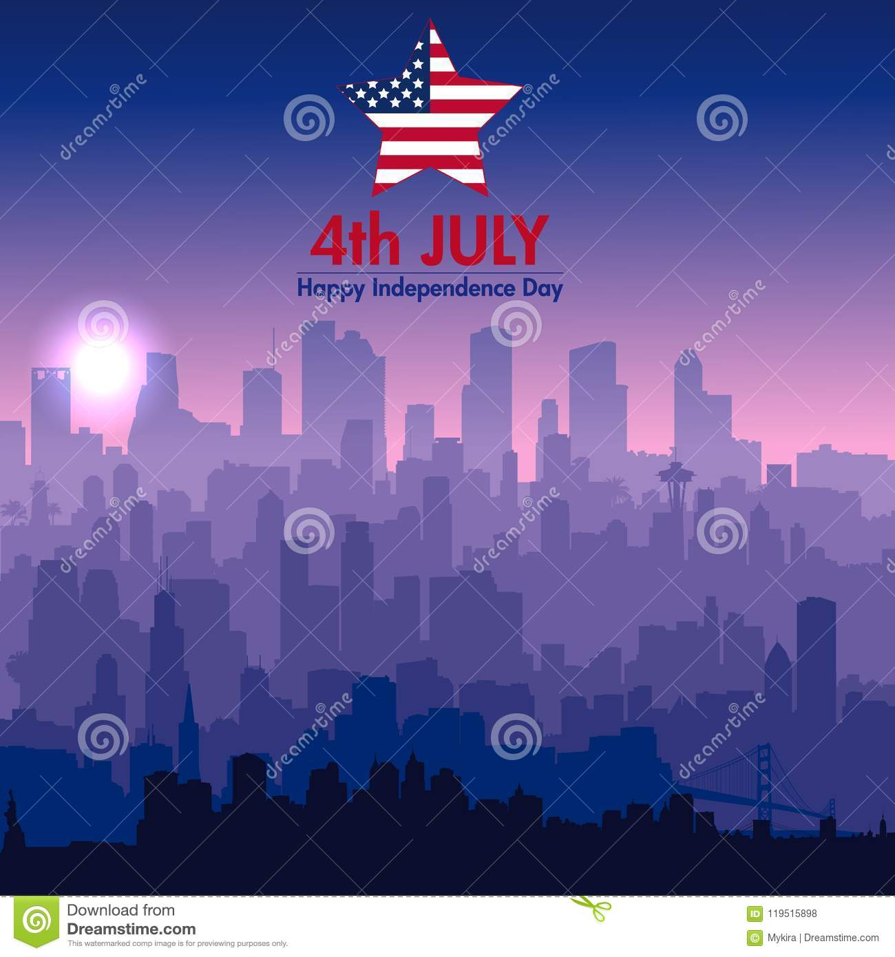 Download Patriotic Independence Day Background Stock Vector - Illustration of holiday, country: 119515898