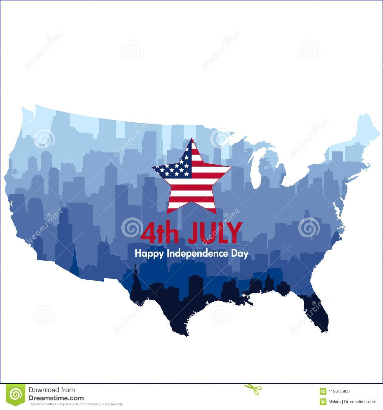 Download Patriotic Independence Day Background Stock Vector - Illustration of chicago, city: 119515900