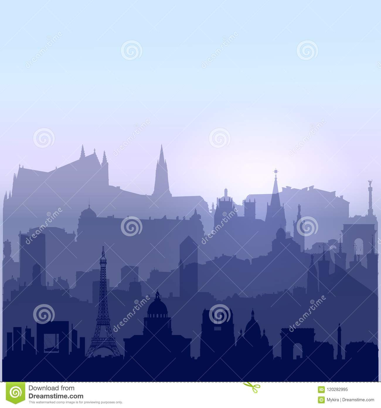 Download Patriotic 14 July Background Stock Vector - Illustration of french, silhouette: 120282995