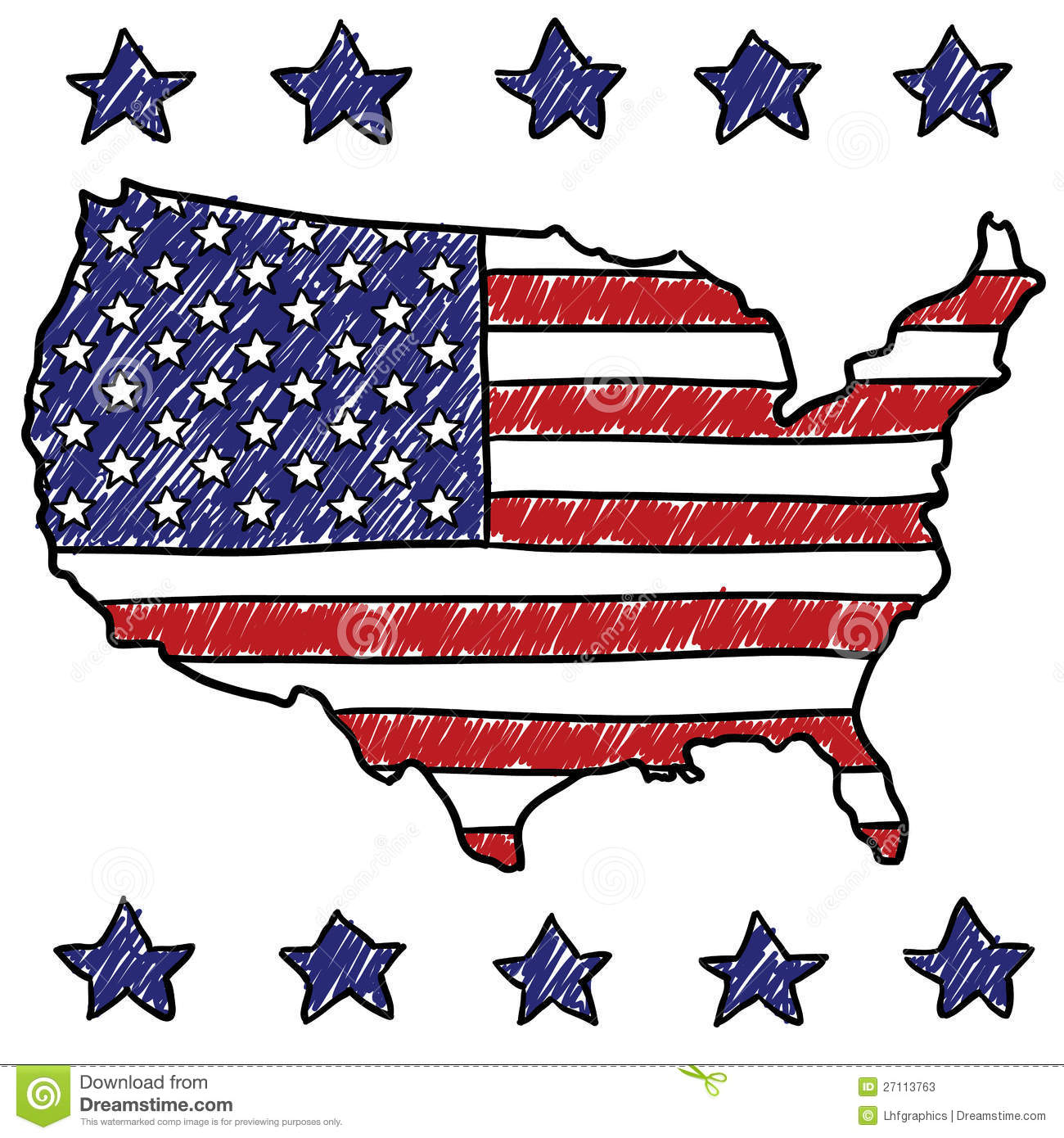 Patriotic Map Of The United States Stock Photos Image - Map of us stock
