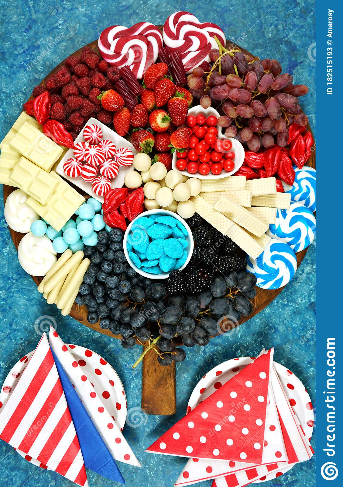 Patriotic Red White And Blue Charcuterie Dessert Grazing Platter Stock Image Image Of Celebration Food 182515193