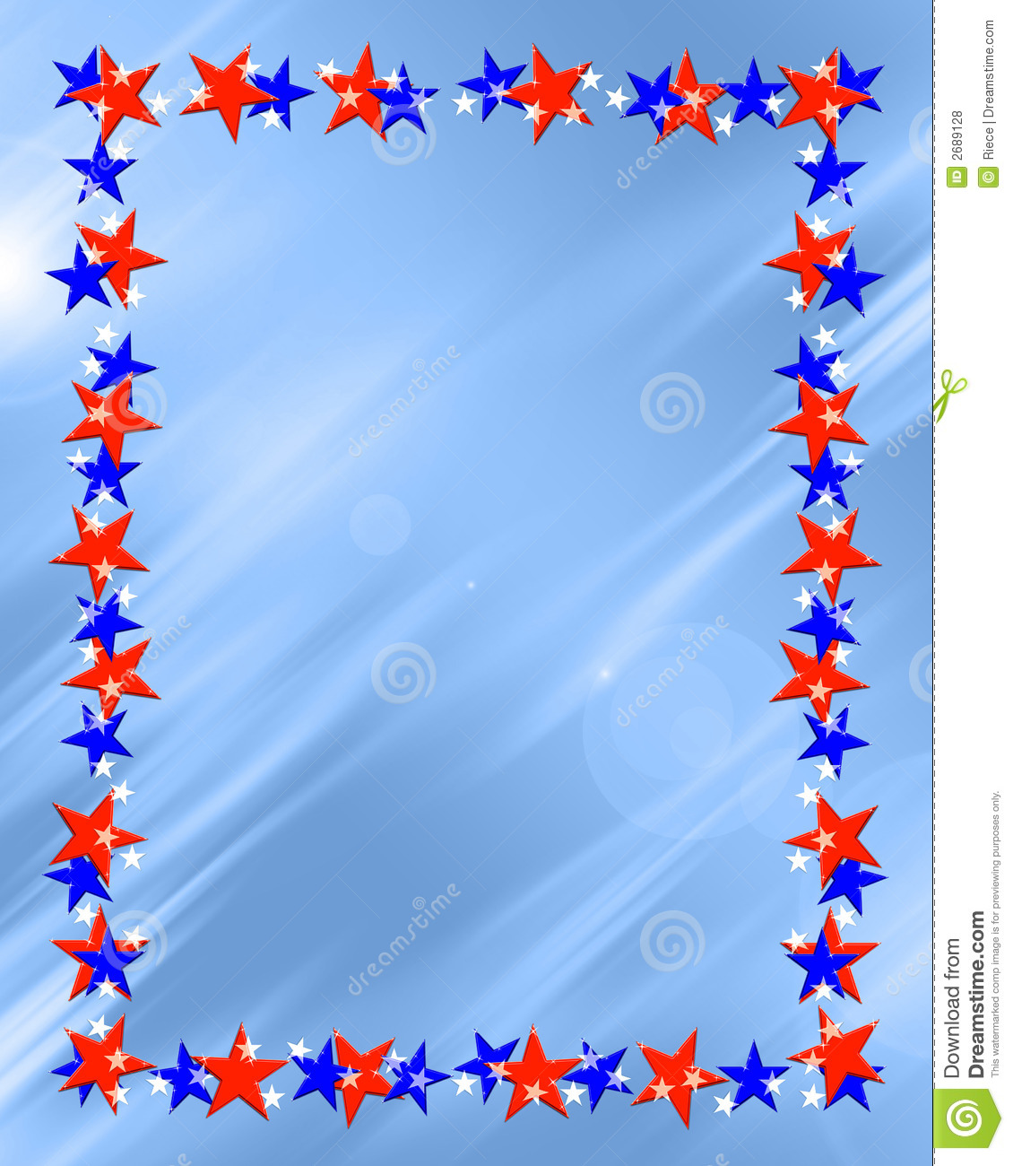 Blue and red patriotic stars and stripes page border frame design - Blue Stars Frames And Borders Submited Images