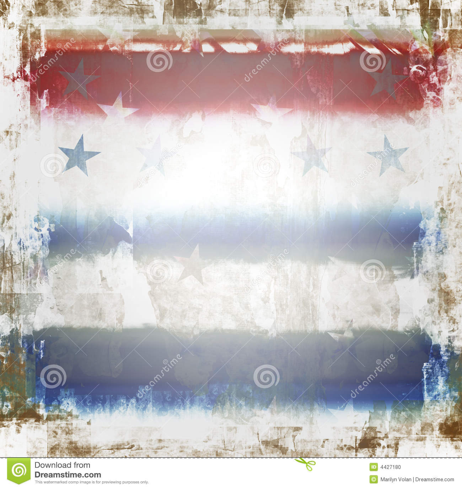 Patriotic stars and stripes grunge