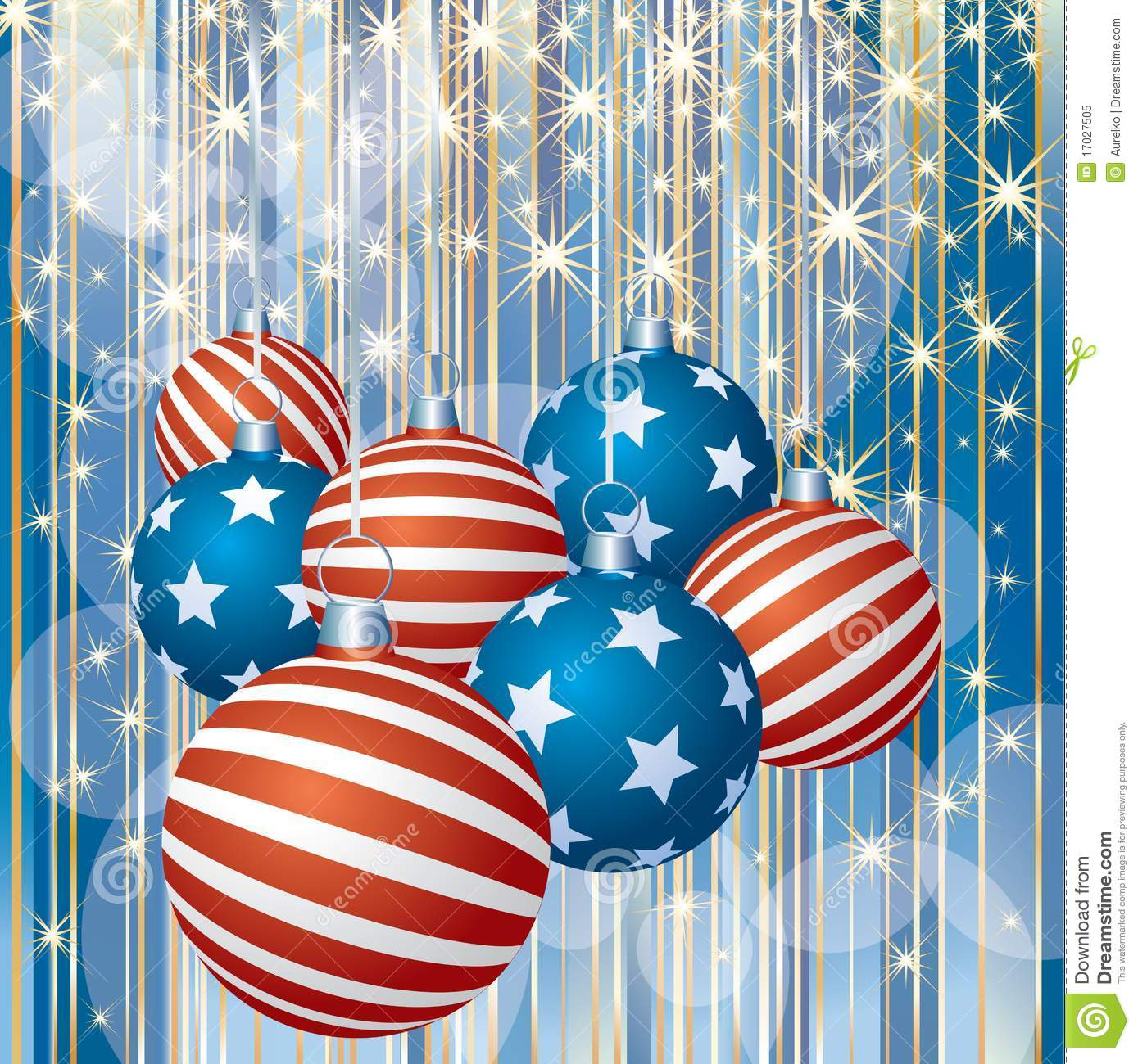 Patriotic Christmas Background.Patriotic Stripped Christmas Stock Vector Illustration Of