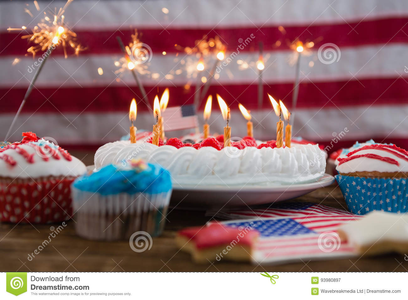 Outstanding Patriotic 4Th Of July Cake And Cupcake Stock Image Image Of Funny Birthday Cards Online Fluifree Goldxyz