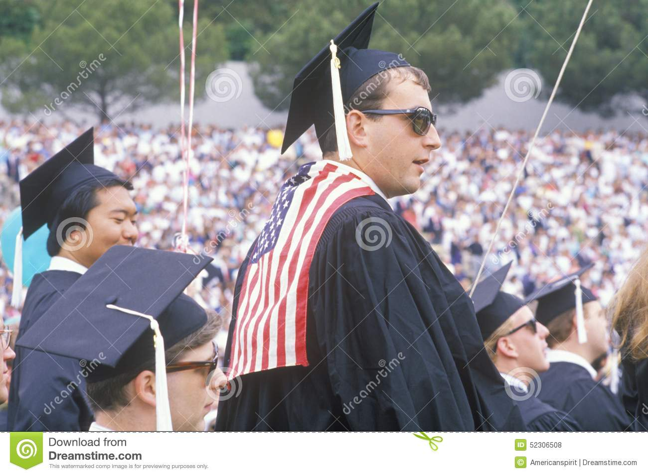 A Patriotic Ucla Graduate In Caps And Gowns Los Angeles California