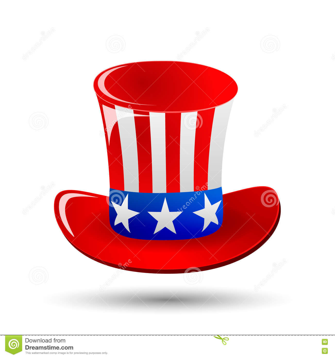 Patriotic Uncle Sam Hat For 4th Of July Public Holiday Card