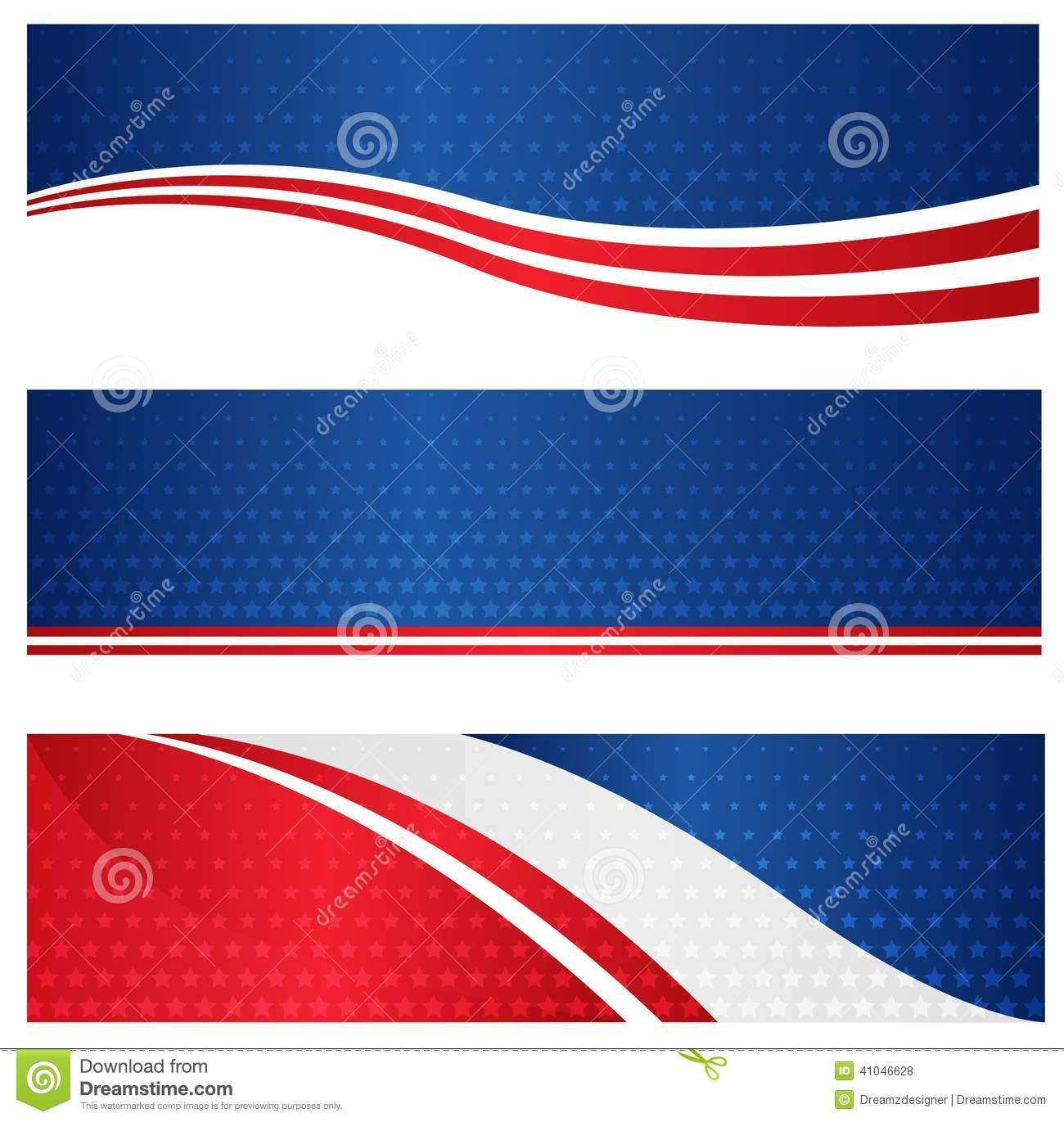 ... blue American flag / stars and stripes web banner / header collection
