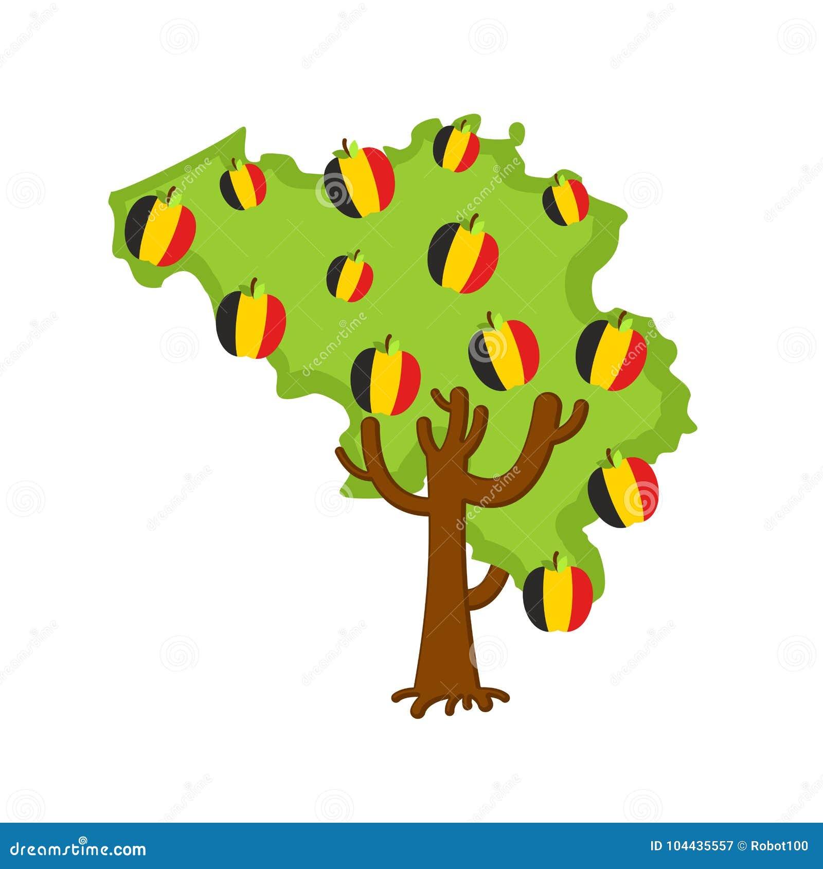 Patriotische Apfelbaum Belgien-Karte Äpfel Belgierflagge eingebürgert