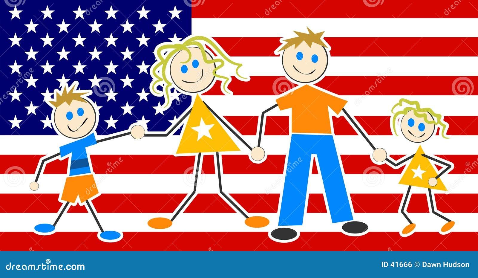 Download Patriotische Familie vektor abbildung. Illustration von amerikanisch - 41666