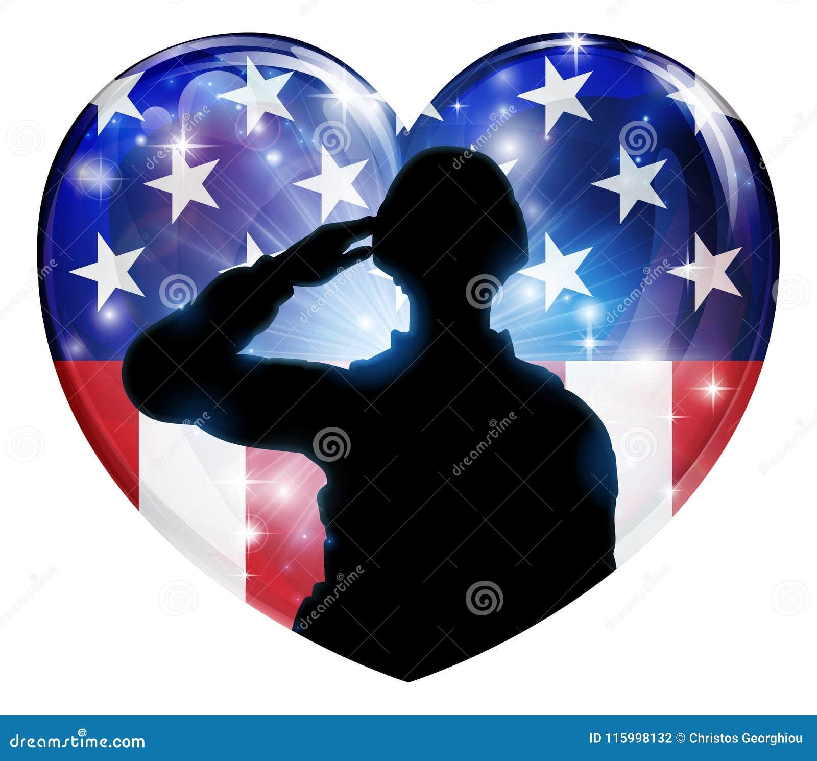 Patriotyczny żołnierz Salutuje flaga amerykańskiej serce