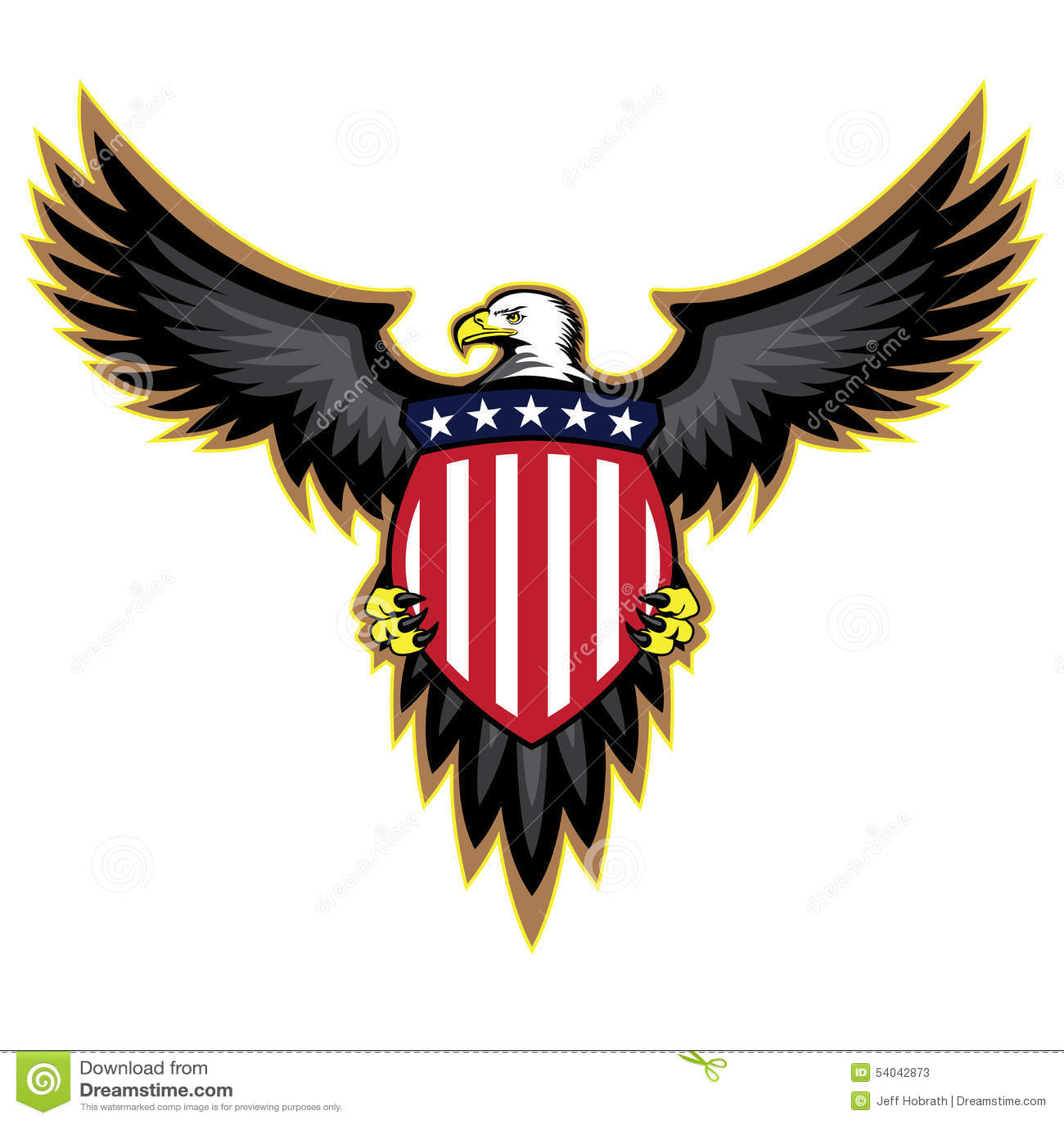 Patriotyczny amerykanin Eagle, skrzydła Rozprzestrzeniający, Trzyma osłonę