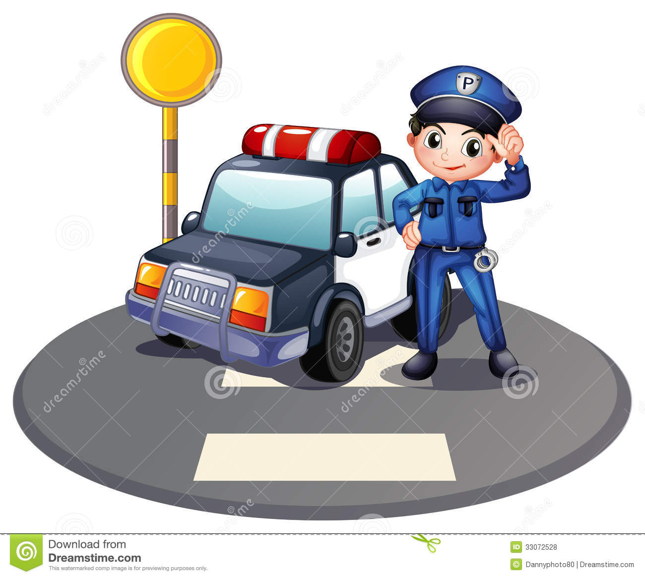 A Patrol Car And The Policeman Near The Traffic Light