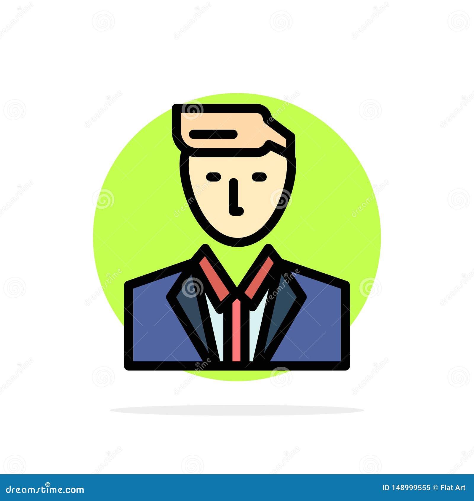 Patron, CEO, chef, chef, icône plate de couleur de M. Abstract Circle Background