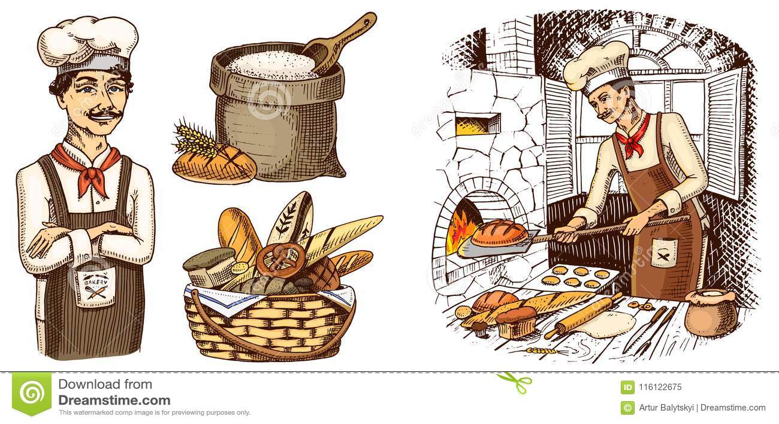 Patron Culinaire, Cuiseur De Chef, Boulanger Dans Le Tablier Sac ...
