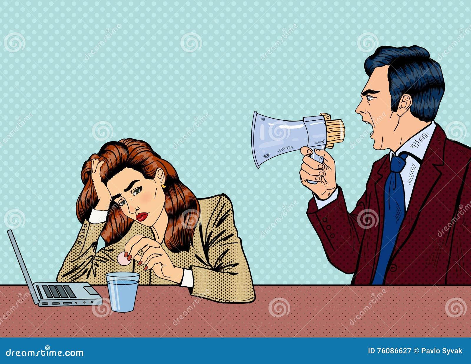 Patron fâché Screaming dans le mégaphone sur la femme dans le bureau Art de bruit