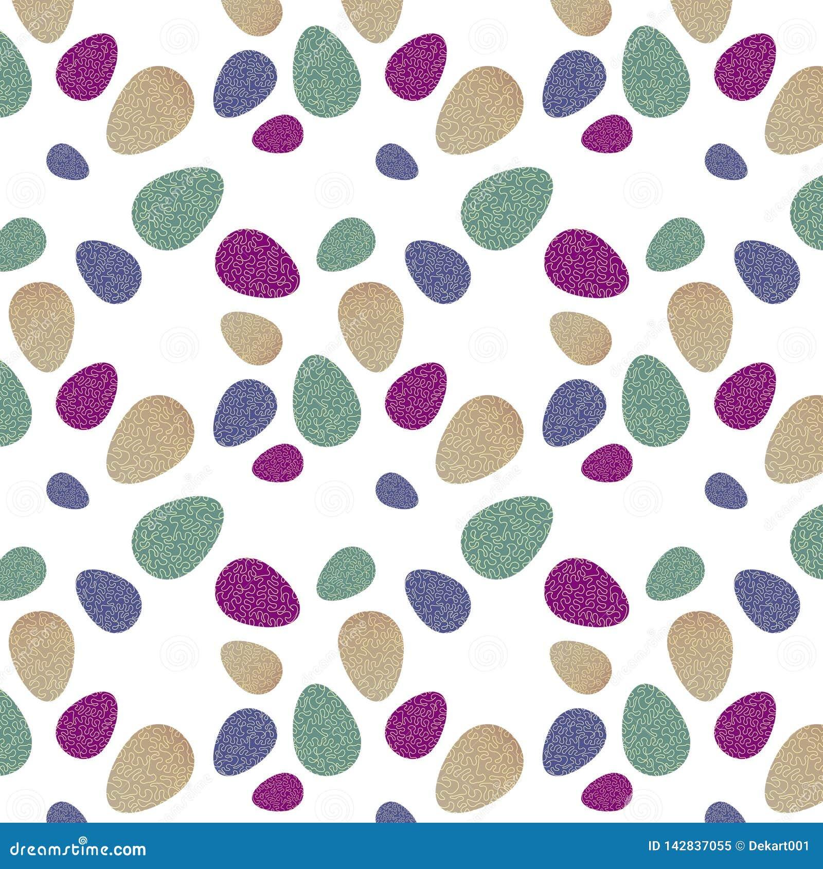 Patroon met kleurrijke paaseieren met groene, violette, purpere en beige achtergrond, golvende gele lijn