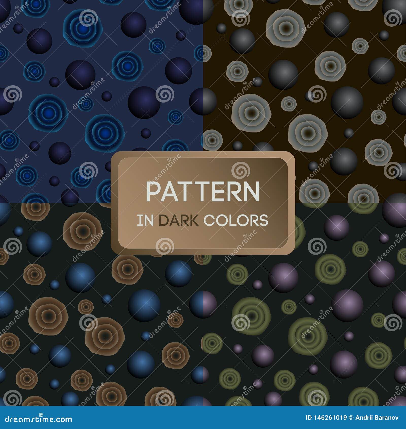 Patroon 02 a-reeks patronen in donkere kleuren, bloemen en ballen