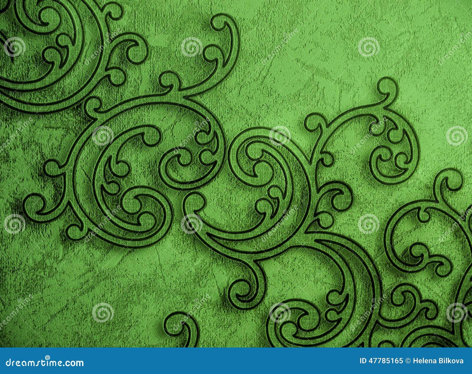 Behang Met Patroon : Patroon sier groen behang stock afbeelding afbeelding bestaande