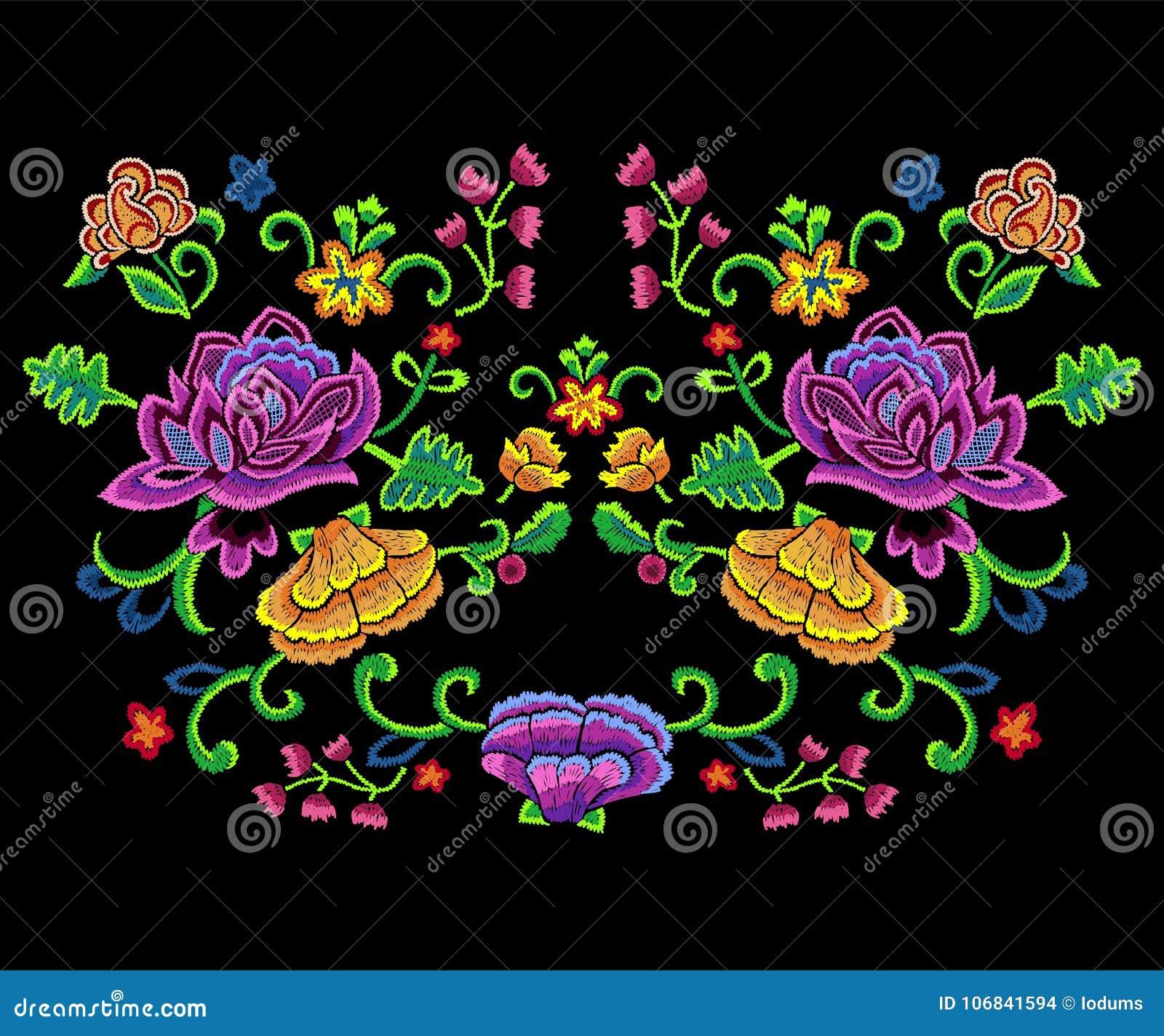 Patroon van de borduurwerk vereenvoudigt het botanische tendens met kleurrijk bloemen