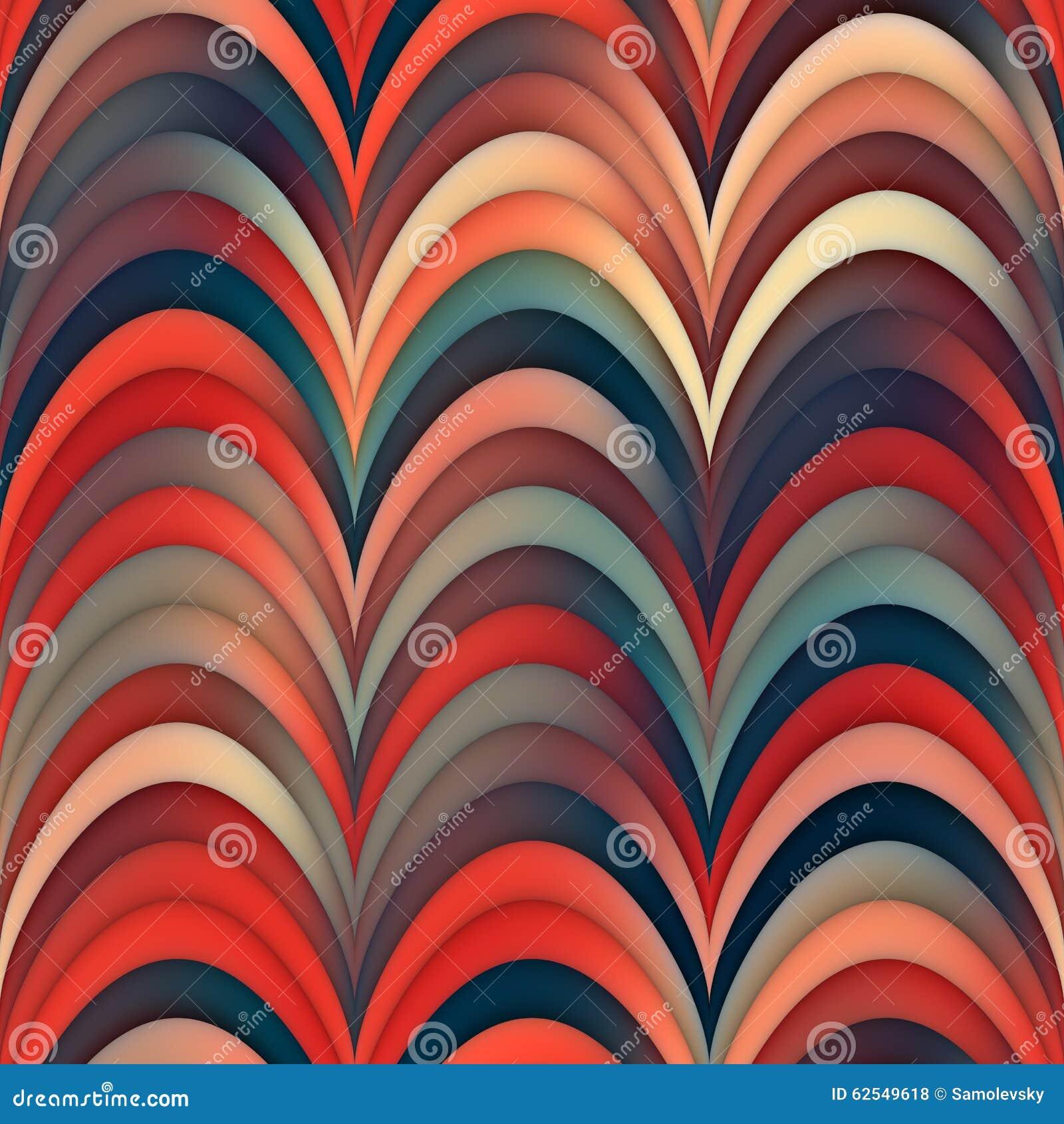 Patroon van de Gradiënt Golvende Ronde Strepen van rooster het Naadloze Blauwe Rode Lijnen