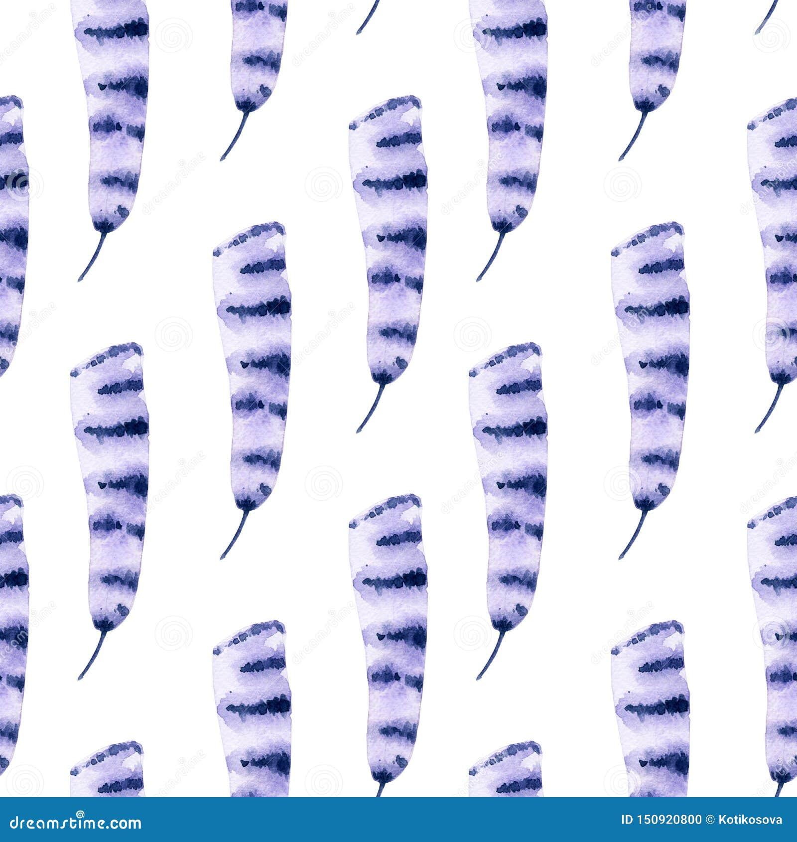 Patroon van de waterverf het naadloze violette veer