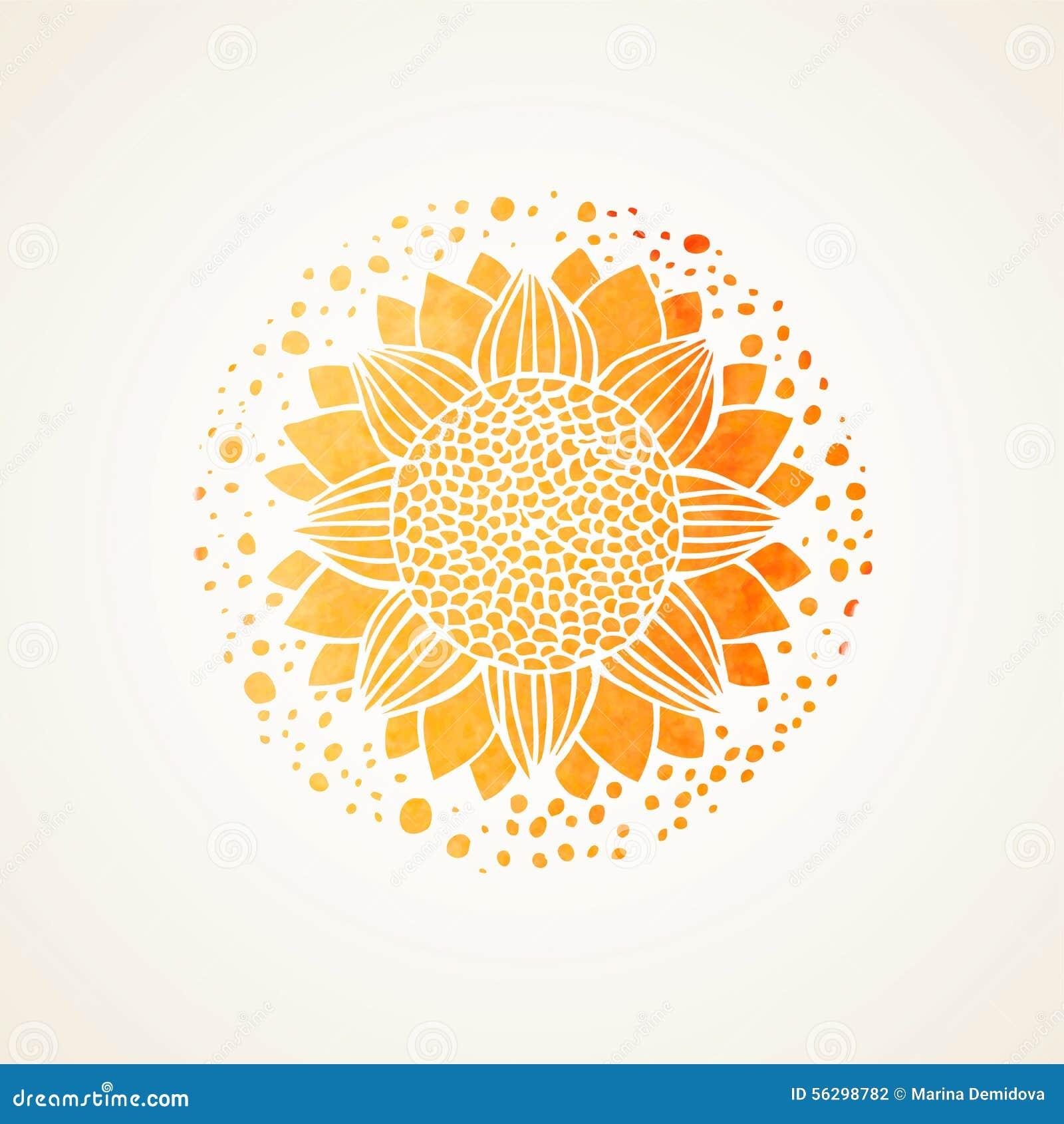 Patroon van het waterverf het zonnige gele kant Vector element mandala