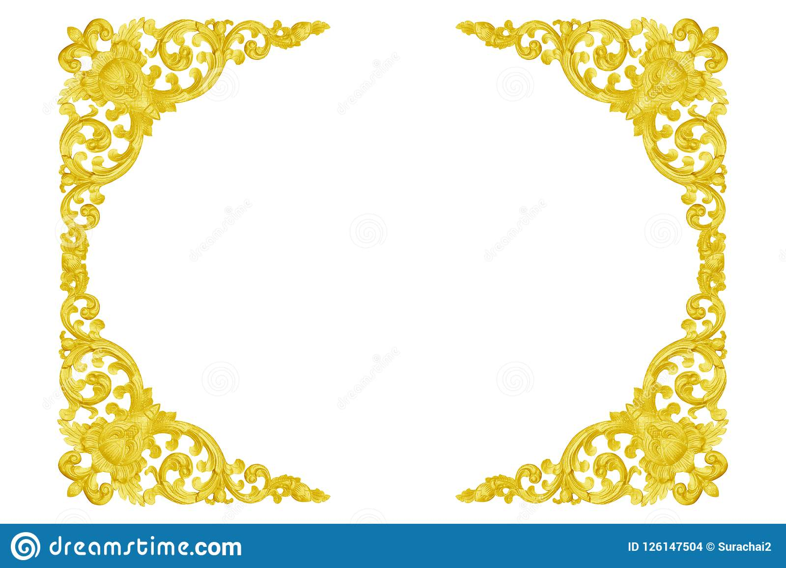 Patroon van hout gesneden gouden die kader op wit wordt geïsoleerd